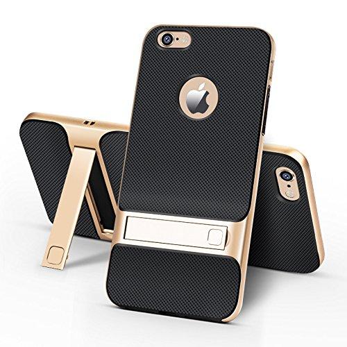 BCIT iPhone 6 Plus Hülle - Hybrid kratzfeste stoßdämpfende TPU +PC Bumper Frame Dual Layer Tasche Schutzhülle mit Ständer für iPhone 6 Plus - Rot Gold