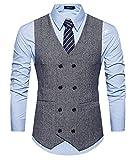 GOMY Herren Weste Anzug Slim fit Modern Smoking Sakko Herrenweste Elegant Schwarz XL