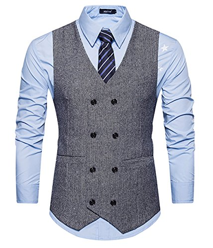 Gomy uomo doppiopetto panciotto casual elegante giacca slim fit blazer cerimonia tinta unita gilet grigio s