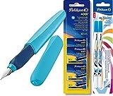 Pelikan 923441 Twist Füllhalter Blau + Pelikan 330845 Patronen 5er Packung, Blau (30 Patronen) + 2 Twist Tintenkiller