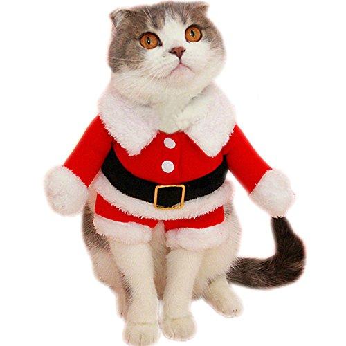 Bolbove Pet Weihnachten Santa Claus Anzug Kostüm für Kleine Jungen Dogs & Stecker Katzen Jumpsuit Winter Coat Warm Kleidung, Large, Rot (Weihnachten Anzüge Für Jungen)