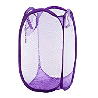 HIPENGYANBAIHU Foldable Practical Pop Up Washing Clothes Laundry Basket Solid Color Mesh Dirty Clothes Storage Basket Bag For Home