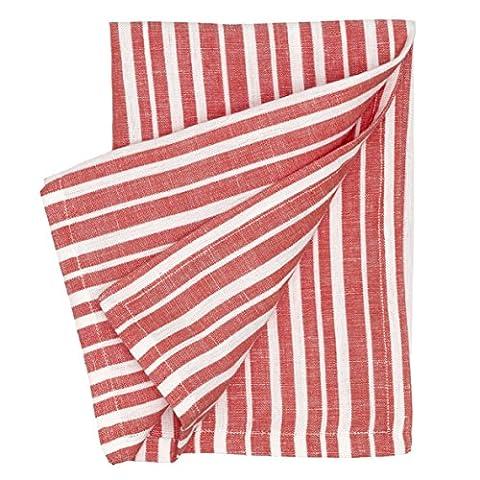Palermo Stripe serviettes en papier, Geranium Red, Lot de 6