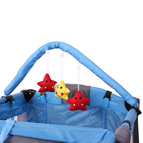 KIDUKU® Kinderreisebett Kinderbett Säuglingsbett Babybett Klappbett Reisebett für Kinder Zweitbett, mit zweiter Ebene für Kleinkinder/Säuglinge, 6 verschiedene Farben, kompakt, höhenverstellbar (Hellblau)