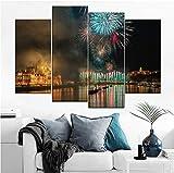 SKShenkai Feuerwerk Landschaft Bild leinwand drucken typ Moderne wohnkultur Wand 4 Panel Budapest ungarn Nacht Stadt Feier malerei Weihnachten-30x60x2 30x80x2