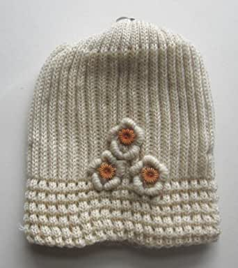 One Beige Ladies Ribbed Beanie Winter Hat One Size - Great Christmas Gift Idea