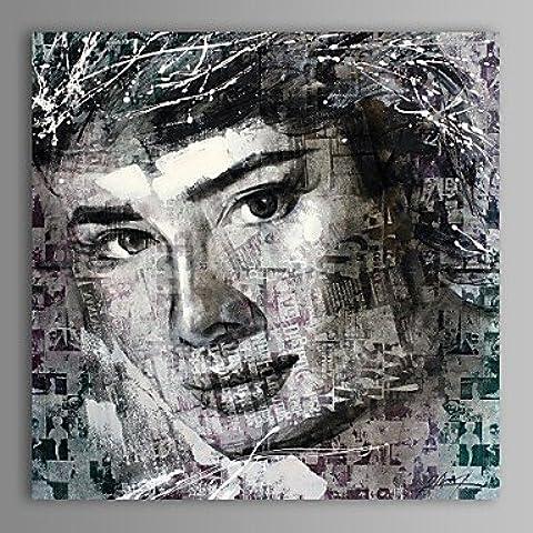 LAPS pintura al óleo moderna de la lona personas abstractas audrey hepburn pintado a mano con el marco estirado