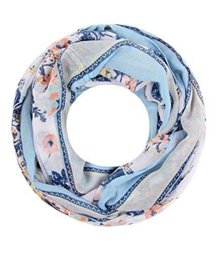 Majea NEUE Kollektion Damen Loop Schal viele Farben Muster Schlauchschal Halstuch in aktuellen Trendfarben (hellblau 24)