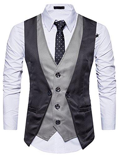 YCHENG Uomo 4 Button Falso due Pezzi Abito Sposa Classico Gilet Abbigliamento Casual Fumante Sottile Suit Vest Grigio