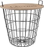 Spetebo Design Beistelltisch aus Metall mit Holz Tischplatte - Dekorativer Couchtisch inkl. Korbablage