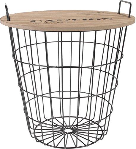 Spetebo Table basse d'appoint design en métal avec plateau de table Avec panier de rangement