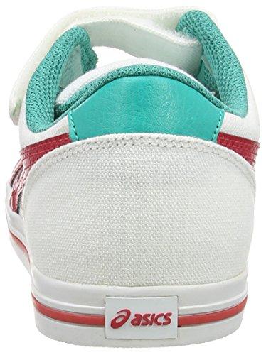 Asics  Aaron Ps, Sneakers Basses garçon Blanc - White (White/Classic Red 0123)