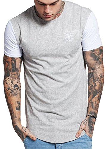 Sik Silk Herren T-Shirt Curved Hem Tee Grey (Grey Marl/White)