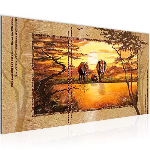 Bilder Afrika Elefant Wandbild Vlies - Leinwand Bild XXL Format Wandbilder Wohnzimmer Wohnung Deko...