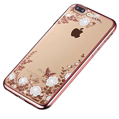 Minto Diamant TPU Blumen Hülle iPhone 6 6s Transparent Silikon Schutzhülle Handyhülle Case Cover Etui Tasche - Rosegold mit Pink Blumen Rosegold mit weiß Blumen -i7 plus