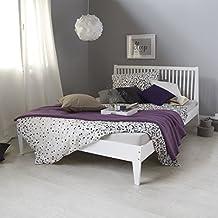 homestyle4u 1844 holzbett 140x200 cm doppelbett weiss mit lattenrost futonbett 140 x 200 bettgestell bett aus