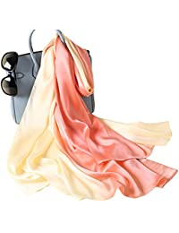 W.Best Femme Foulard 100% Soie Grande Echarpe Châle Ultra-Léger Respirant  Elégant 14de119ec1b