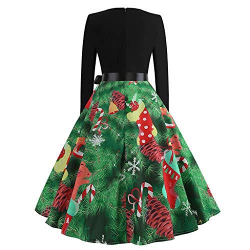 Damen Weihnachten Kleider Langarm Weihnachtskleid Vintage Hepburn Cocktailkleid Kleider Sexy V-Ausschnitt Partykleid A-Linie Swing Kleid Weihnachtsdeko -