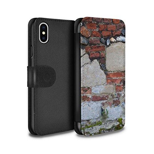 Stuff4 Coque/Etui/Housse Cuir PU Case/Cover pour Apple iPhone X/10 / Vert Mousse Design / Maçonnerie Collection Mixte