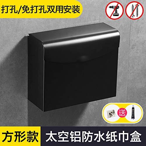 ium wasserdichte Rollenhalter schwarz Hand Karton Tablett Wand hängen Gewebe Box Freischnitt, quadratische große Tasche Gras Tablett T527 ()