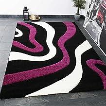 Salón Alfombra lila negro y blanco con ondas patrón Friseé Zambaiti PHC suave–VIMODA, medidas: 80x 150cm
