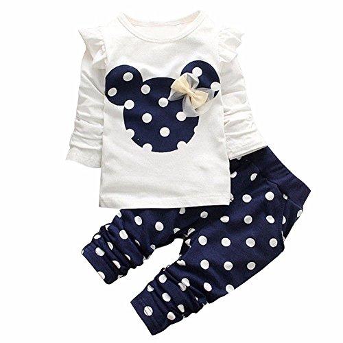 Tiaobug Babykleidung Baby - Mädchen Bekleidung im Set mit Langarmshirt und Hose 80 86 92 98 Marineblau 80 (Herstellergröße:80)