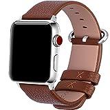 15 Farben für Apple Watch Armband 42mm, Fullmosa® Uhrenarmband Litschi Textur Hauptschicht Rindsleder Lederarmband mit Edelstahlschließe für Apple Watch Series 1 Series 2 Series 3 ,Braun