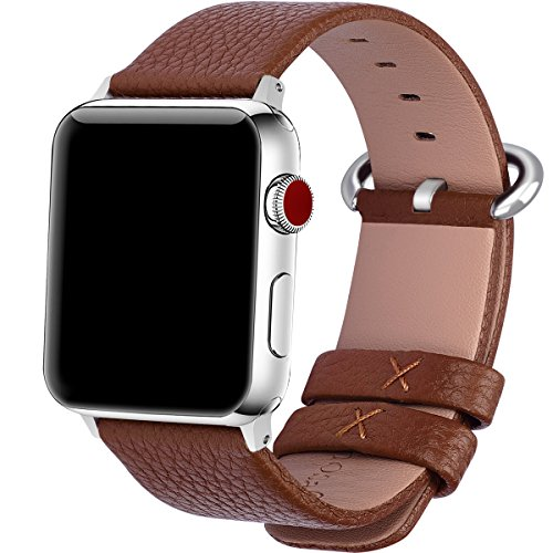15 Colores para Correa Apple Watch 42mm, Fullmosa®Yan Apple Watch Band de Cuero Apple Watch Pulsera Correa para Watch Reemplazo de Reloj Ediciones Versiones 2015 2016 2017 para iWatch Serie 0 1 2 3, Marrón