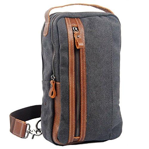 GSPStyle Unisex Canvas Leder Tasche Brusttasche Herrentasche Reißverschluss Schultertasche Sporttasche Grau