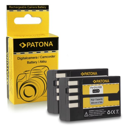 Galleria fotografica 2x Batteria D-Li109 DLi109 per Pentax K-2 | K-30 | K-50 | K-500 | K-r e più… [ Li-ion; 900mAh; 7.4V ]