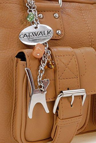 Leder Schultertasche von Catwalk Collection - Caroline - GRÖßE: B: 33 H: 19 T: 11,5 cm Hellbraun