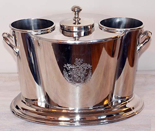 Michael Noll Champagnerkühler Weinkühler Flaschenkühler mit Eisfach Messing Silber XXL 32 cm