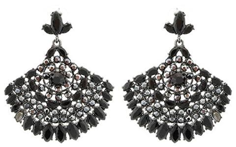 Zest Indian Style Fan Shaped Swarovski Crystal Pierced Drop Earrings Black