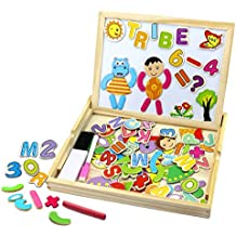 BBLIKE Pizarra magnética versátil de madera, Dibujo y Tarjeta de Escritura,juguete educativo para los Niños de 3