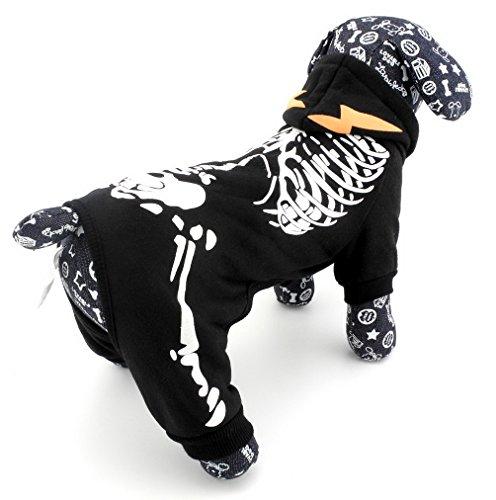 Pegasus Pet Kleidung für Welpen Katze Kleine Hunde Phosphoreszierendes Skelett hooide Jacke Jumpsuit Kostüm Kleidung (Dunklen Hund Halloween-kostüm)