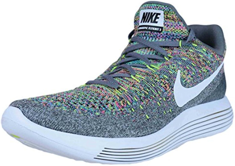 Zapatillas de running Nike Mens LunarEpic Low Flyknit 2 COOL GREY / WHITE-VOLT-BLUE GLOW 10.5