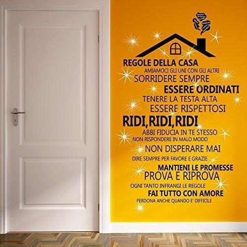 Wallflexi cameretta con cristalli swarovski & rooftop regole della casa in italiano murale decalcomanie home decorazione soggiorno ristorante cafe ufficio décor
