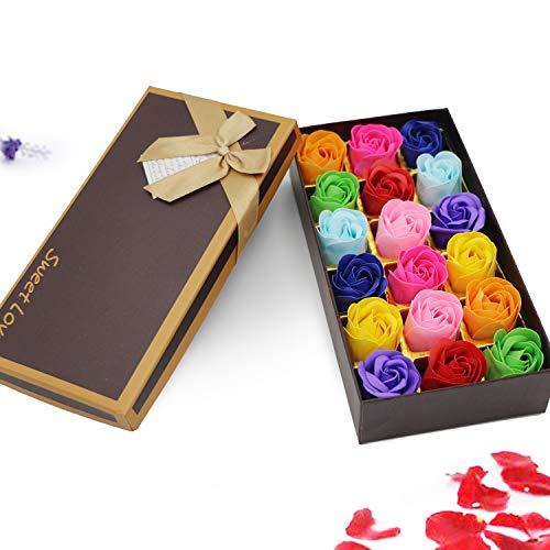 18 Stück blumige Duft-Badeseife mit Rosenblüten von Nature Pflanze, ätherisches Öl-Set für Weihnachten, Valentinstag, Muttertag, Frauentag, Hochzeit, Geburtstag, Gedenktag bunt -