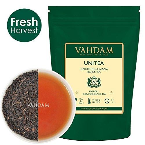VAHDAM, tè nero UNITEA (100+ tazze) | Tè di Darjeeling e Assam | Foglie di tè nero 100% PURO Foglia sciolta del tè nero ROBUSTO | Preparare come tè sfuso, tè freddo o latte in polvere da 255gr