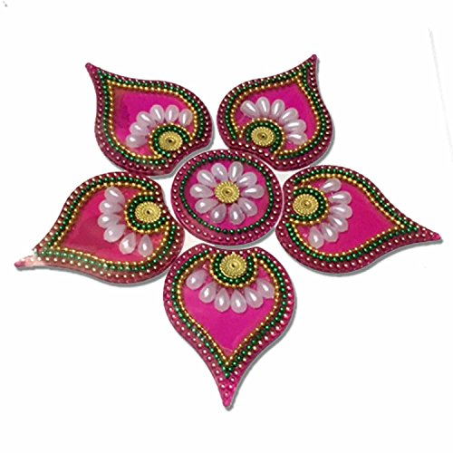 Readymade Elegantly Designed Pink Rangoli - With Round Shaped Base And Leaf Shape Design Decorated With Artificial Pearl Stones - 7 Pieces
