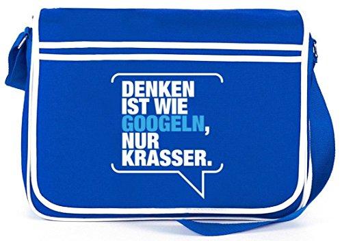 Shirtstreet24, Denken ist krasser, Retro Messenger Bag Kuriertasche Umhängetasche Royal Blau