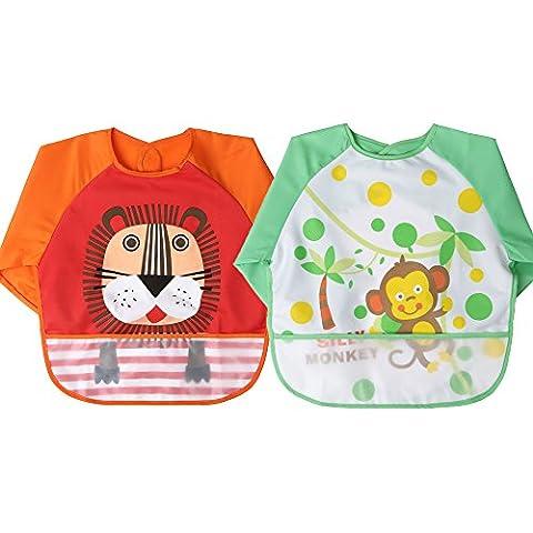 Baby Nursing Feeding Bibs ,Baby Waterproof Bib for Infant Toddler (Orange-Lions +Green-Monkey)
