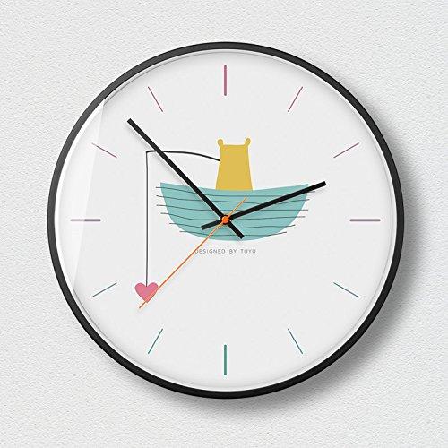 Horloges murales Bateau Ours Cartoon Image Concise Style silencieux et non-coutil 12.0 pouces Grand cadran Quartz horloge pour chambre à coucher / chambre d'enfant à piles ( Couleur : B )