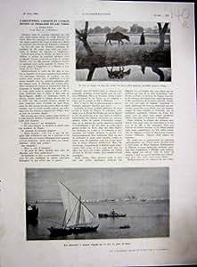 Impression 1936 de Français du Nil de Carte de Lac Suez Egypte Tsana