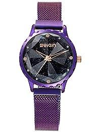 XueXw Reloj De Las Mujeres Cielo Estrellado Reloj Impermeable Reloj De Moda Diseño único Malla Cinturón