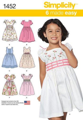Simplicity Schnittmuster 1452–Kind Kleid mit Mieder-Größen: 3–8 (Kleid Geraffte Mieder)