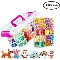 KOBWA Kit de Recarga de Beads Fuse Beads Set Abalorios Cuentas de Agua, 30 Colores 8400 Piezas Perlas de Repuesto artesanía Juguetes DIY Juguetes de Aprendizaje para niños