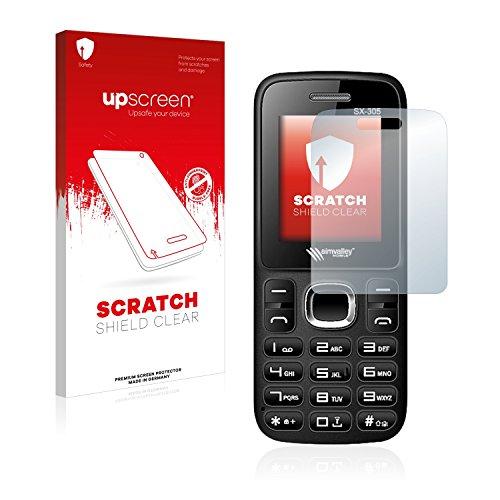 upscreen Scratch Shield Schutzfolie kompatibel mit Simvalley Mobile SX-305 - Kristallklar, Kratzschutz, Anti-Fingerprint