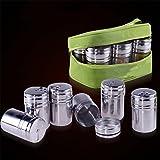 Gracelaza Set von 6Edelstahl Gewürzdosen Salz Pfeffer Spice Shaker Gewürz Topf mit Tasche
