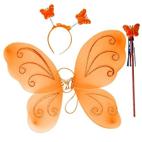 3-7 Jahre - Kostüm Set - Verkleidung - Karneval - Halloween - Theater - Schmetterlingsflügel - Fee - Stirnband - Zauberstab - Orange - ()
